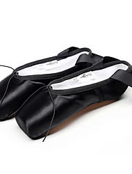 cheap -Women's Dance Shoes Satin Ballet Shoes Heel Flat Heel Customizable Black / Red