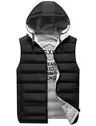 abordables -Homme Quotidien / Sports Basique Hiver Normal gilet, Couleur Pleine Capuche Sans Manches Coton / Polyester Noir / Vin / Vert Véronèse