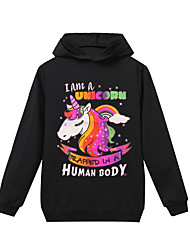 cheap -Kids Girls' Basic Unicorn Print Long Sleeve Hoodie & Sweatshirt Red