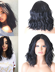 cheap -Synthetic Lace Front Wig Wavy Middle Part Wig Short Natural Black #1B Kanekalon 14 inch Women's Women New Arrival Hot Sale Black Laflare
