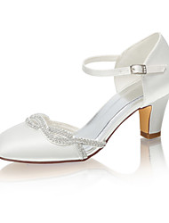 cheap -Women's Wedding Shoes Chunky Heel Round Toe Rhinestone Satin Spring &  Fall / Summer Ivory / Party & Evening