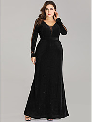 cheap -Sheath / Column Mother of the Bride Dress Plus Size V Neck Floor Length Velvet Long Sleeve with Sash / Ribbon 2020