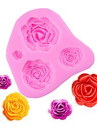Недорогие -4 размера роза форма цветка силиконовые формы кекс цветок помадка выпечки торта украшения инструменты