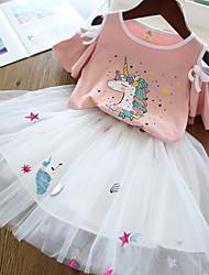 cheap -Kids Girls' Basic Unicorn Print Short Sleeve Clothing Set White