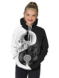cheap -Kids Toddler Girls' Active Basic Black & White Fantastic Beasts Geometric Print Color Block Print Long Sleeve Hoodie & Sweatshirt White