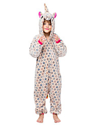 cheap -Kid's Kigurumi Pajamas Unicorn Flying Horse Onesie Pajamas Flannelette Yellow / Blue / Gray Cosplay For Men and Women Animal Sleepwear Cartoon Festival / Holiday Costumes