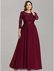 cheap -A-Line Mother of the Bride Dress Plus Size Jewel Neck Floor Length Chiffon Lace 3/4 Length Sleeve with Lace 2020