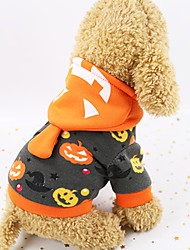 cheap -Dogs Coat Hoodie Winter Dog Clothes Black Halloween Costume Polyster Pumpkin XS S M L XL XXL