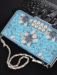 cheap -Case For Apple Applicable to Xs Max Leather Case 6/7/8 Exquisite Floral Leather Case Portable XR/X Pearl 6Plus/7Plus/8Plus Flip Wallet Anti-fall Mobile Shell
