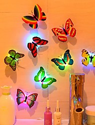 cheap -LED Night Light Colorful Changing Butterfly Hallway Night Lights Button Battery Powered for Party Bedroom Kitchen Bathroom Deck 5pcs