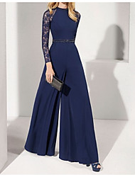 cheap -Jumpsuits Jewel Neck Floor Length Chiffon Elegant / Blue Formal Evening / Wedding Guest Dress with Beading / Sash / Ribbon 2020