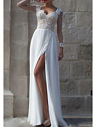 cheap -A-Line Sweetheart Neckline Floor Length Chiffon / Lace Long Sleeve Beautiful Back Made-To-Measure Wedding Dresses with Draping / Split Front / Lace Insert 2020