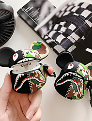 cheap -Cartoon Camouflage Shark Head Airpods1/2 Generation Wireless Bluetooth Headset Set Silicone Case Personality Cover for Men and Women