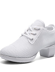 cheap -Women's Dance Shoes Mesh Dance Sneakers Sneaker Thick Heel Customizable Black / White