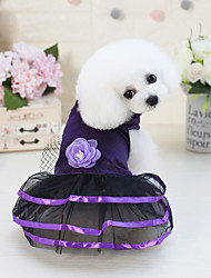 cheap -Dogs Cats Pets Dress Dog Clothes Purple Dark Blue Costume Polyster Flower Voiles & Sheers XS S M L XL