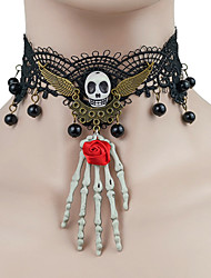 cheap -Women's Black Choker Necklace Necklace Classic Skull Flower Angel Wings Statement Vintage Trendy Fashion Resin Chrome Black 37 cm Necklace Jewelry 1pc For Halloween Club