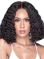 cheap -Human Hair Lace Front Wig Bob Short Bob Middle Part style Brazilian Hair Water Wave Black Wig 130% Density Women Lovely Women's Short Human Hair Lace Wig Clytie