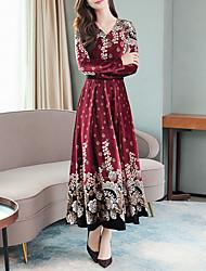 cheap -Women's Maxi Wine Blushing Pink Dress Elegant A Line Floral V Neck M L