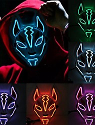 cheap -LED Light Mask Staycation For Graduation Party Fox Mask Face Light Mask Neon Light For Cosplay Carnival Mask Sexy Party Led Mask Batteries Powered Party Bar Night Light Halloween