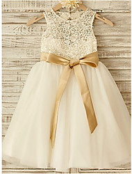 cheap -A-Line Jewel Neck Knee Length Lace / Tulle Junior Bridesmaid Dress with Bow(s) / Lace / Sash / Ribbon / First Communion