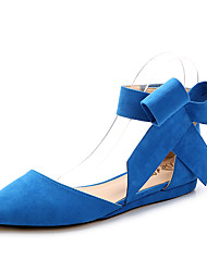 cheap -Women's Flats Flat Heel Pointed Toe Bowknot Suede Sweet Spring & Summer Black / Red / Blue