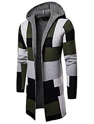 cheap -Men's Color Block Long Sleeve Cardigan Sweater Jumper, Hooded Green / Gray US32 / UK32 / EU40 / US34 / UK34 / EU42 / US36 / UK36 / EU44