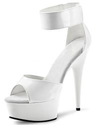 cheap -Women's Sandals Cone Heel Peep Toe Buckle PU Classic / Minimalism Summer Black / White / Gray / Party & Evening