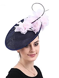cheap -Ostrich Fur / Linen / Cotton Blend / Straw Headbands / Hair Accessory with Feather / Floral 1 PC Party / Evening / Belmont Stakes Headpiece