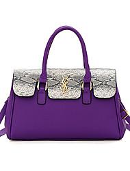 cheap -Women's Zipper PU Top Handle Bag Color Block Black / Brown / Purple / Snakeskin