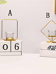 cheap -1pc nordic style gold geometric candle metal tealight candle stand holder with wrought iron hanging rack decoration home craft