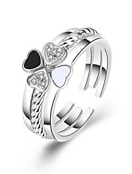 cheap -Women's Ring 3pcs Silver Copper Circular Basic Korean Fashion Gift Holiday Jewelry Sweet Heart Clover Heart Lovely