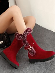 cheap -Women's Boots Flat Heel Round Toe Feather / Buckle Rabbit Fur / Suede Mid-Calf Boots Casual / Minimalism Spring &  Fall / Fall & Winter Black / Red