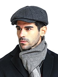 cheap -Men's Basic Cashmere Cotton Acrylic Beret Hat Floppy Hat-Color Block Fall Winter Navy Blue