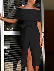 cheap -Women's Basic Asymmetrical A Line Dress - Solid Colored Off Shoulder Black S M L XL