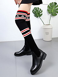 cheap -Women's Boots Knee High Boots Flat Heel Round Toe PU Knee High Boots Winter Black