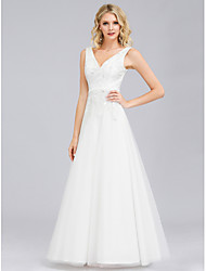 cheap -A-Line Elegant Formal Evening Dress V Neck Sleeveless Floor Length Lace Tulle with 2021