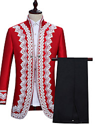 cheap -Prince Retro Vintage Medieval Coat Pants Outfits Masquerade Men's Silk Costume Wine / Red Vintage Cosplay Party Long Sleeve Pantsuit / Jumpsuit