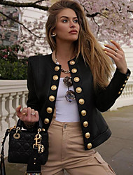 Недорогие -Жен. Повседневные Классический Наступила зима Обычная Кожаные куртки, Однотонный Круглый вырез Длинный рукав Полиуретановая Черный