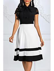 cheap -Women's Slim Sheath Dress - Color Block Stand Black M L XL XXL