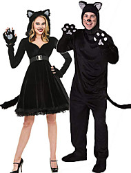 cheap -Cat Cosplay Costume Outfits Masquerade Kaftan Dress Adults' Couple's Cosplay Halloween Halloween Festival / Holiday Plush Fabric Black / Gray Couple's Carnival Costumes