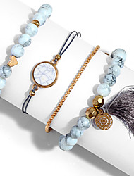 cheap -4pcs Women's Bead Bracelet Vintage Bracelet Earrings / Bracelet Layered Heart Weave Lucky Vintage Trendy Ethnic Fashion Boho Alloy Bracelet Jewelry Gold For Daily / Pendant Bracelet