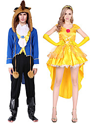 cheap -Princess Prince Cosplay Costume Masquerade Adults' Couple's Cosplay Halloween Halloween Festival / Holiday Polyster Yellow / Blue Couple's Carnival Costumes