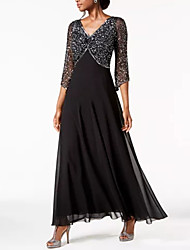 cheap -A-Line V Neck Ankle Length Chiffon / Lace Elegant / Black Formal Evening / Wedding Guest Dress with Sequin 2020