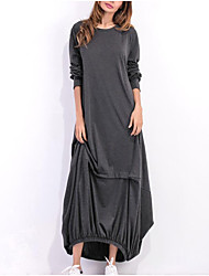 cheap -Women's Daily Wear Street chic Elegant Maxi A Line Dress - Solid Colored Pleated Black Wine Light gray S M L XL