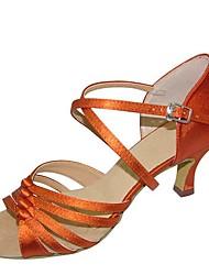 cheap -Women's Dance Shoes Satin / PU Latin Shoes Paillette Heel Flared Heel Customizable Brown / Black / Gold / Orange