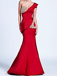 cheap -Mermaid / Trumpet One Shoulder Floor Length Satin Sparkle / Red Formal Evening / Wedding Guest Dress with Crystals / Ruffles 2020