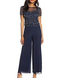 cheap -Pantsuit / Jumpsuit Bateau Neck Floor Length Chiffon / Tulle Short Sleeve Plus Size / See Through / Elegant Mother of the Bride Dress with Appliques / Lace 2020