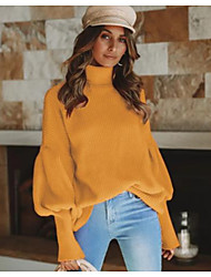 cheap -Women's Solid Colored Long Sleeve Pullover Sweater Jumper, Round Black / White / Yellow S / M / L