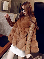 cheap -Women's Going out Winter / Fall & Winter Regular Fur Coat, Solid Colored Round Neck Long Sleeve Faux Fur White / Brown / Gray