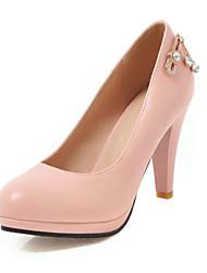 cheap -Women's Heels Chunky Heel Round Toe PU Spring &  Fall Black / White / Blue